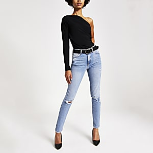 Jean skinny bleu moyen original usé