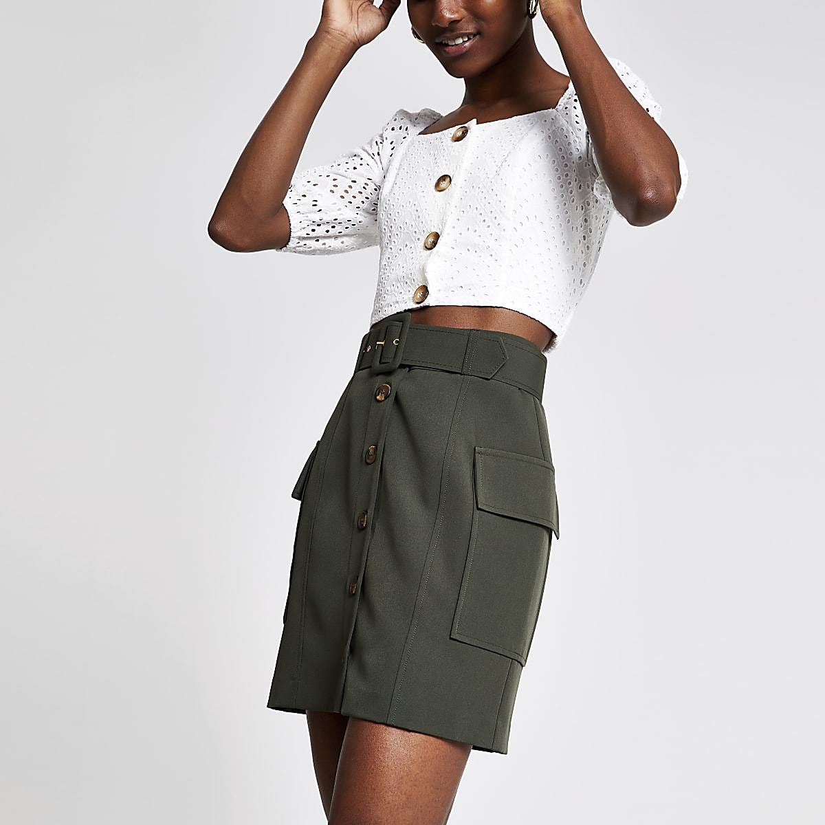 Khaki belted utility mini skirt