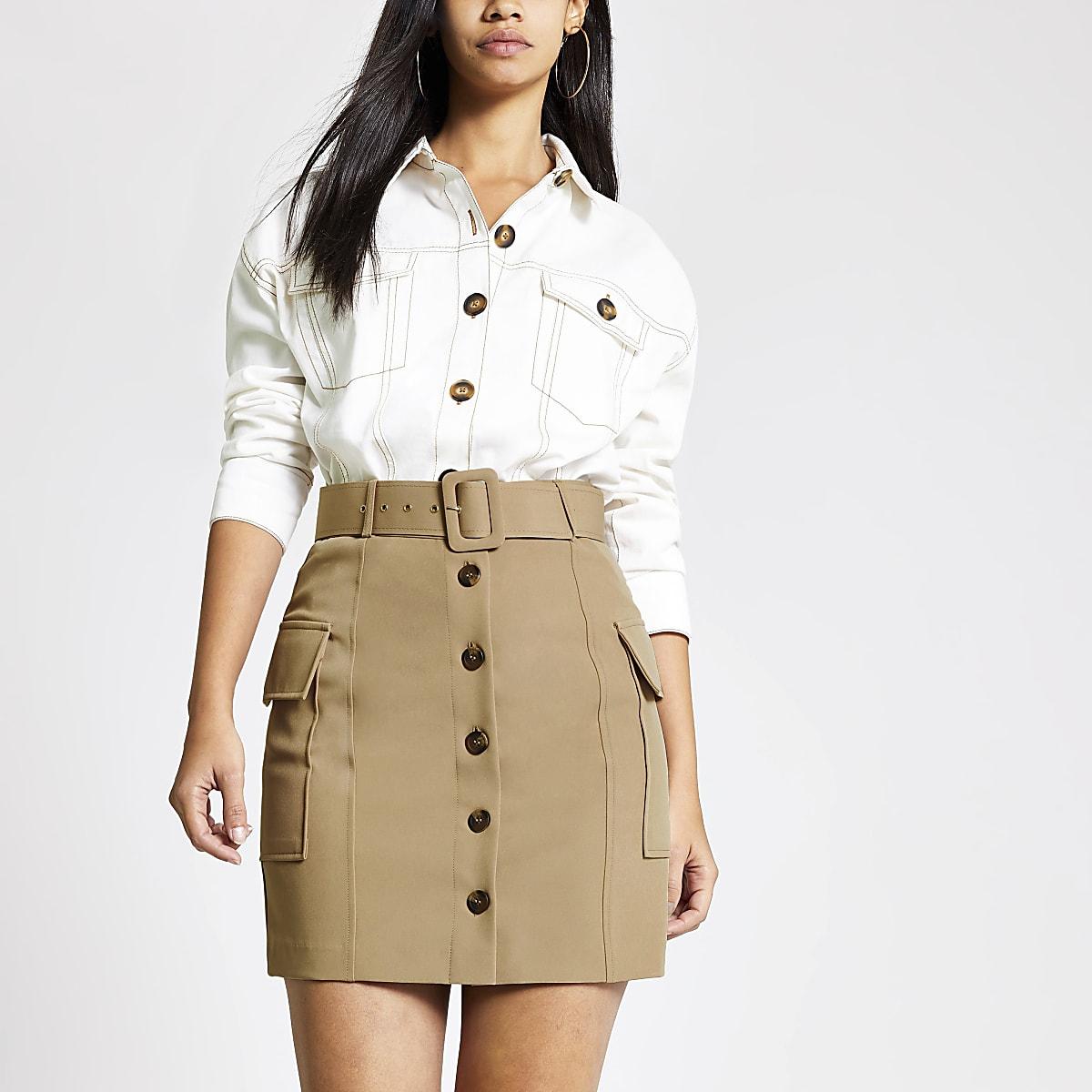 Light brown belted utility mini skirt