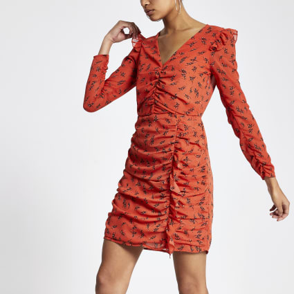 Orange floral print ruched mini dress