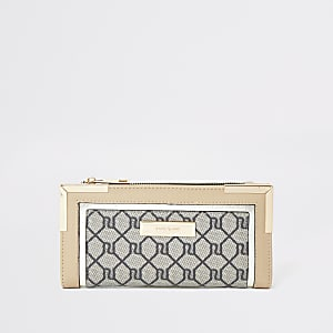 Porte-monnaie à rabat beige avec logo RI