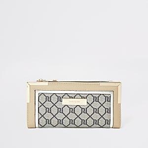 Beige uitvouwbare portemonnee met RI-monogram