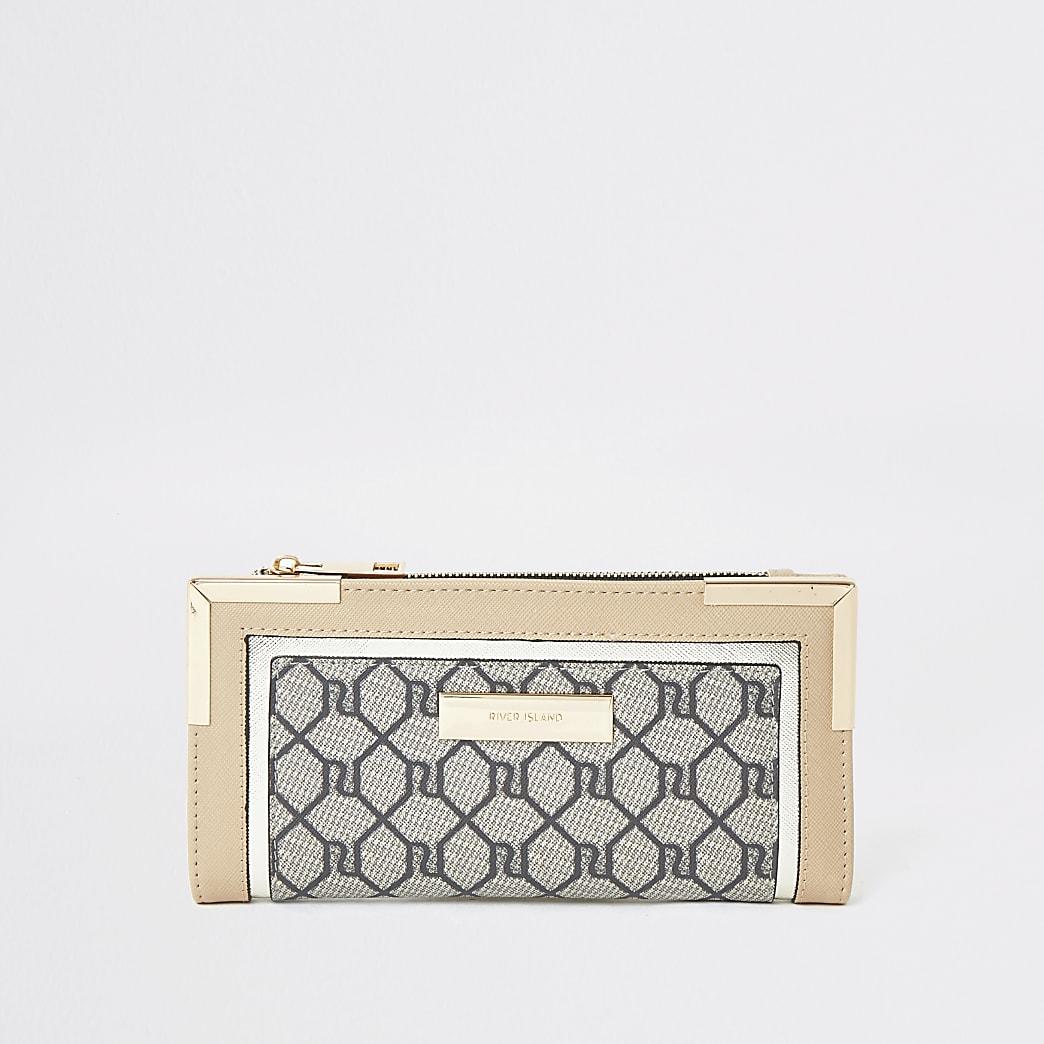 Beige RI monogram fold out purse