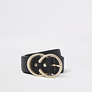Zwarte riem met doorgestikt bandje en twee ringen