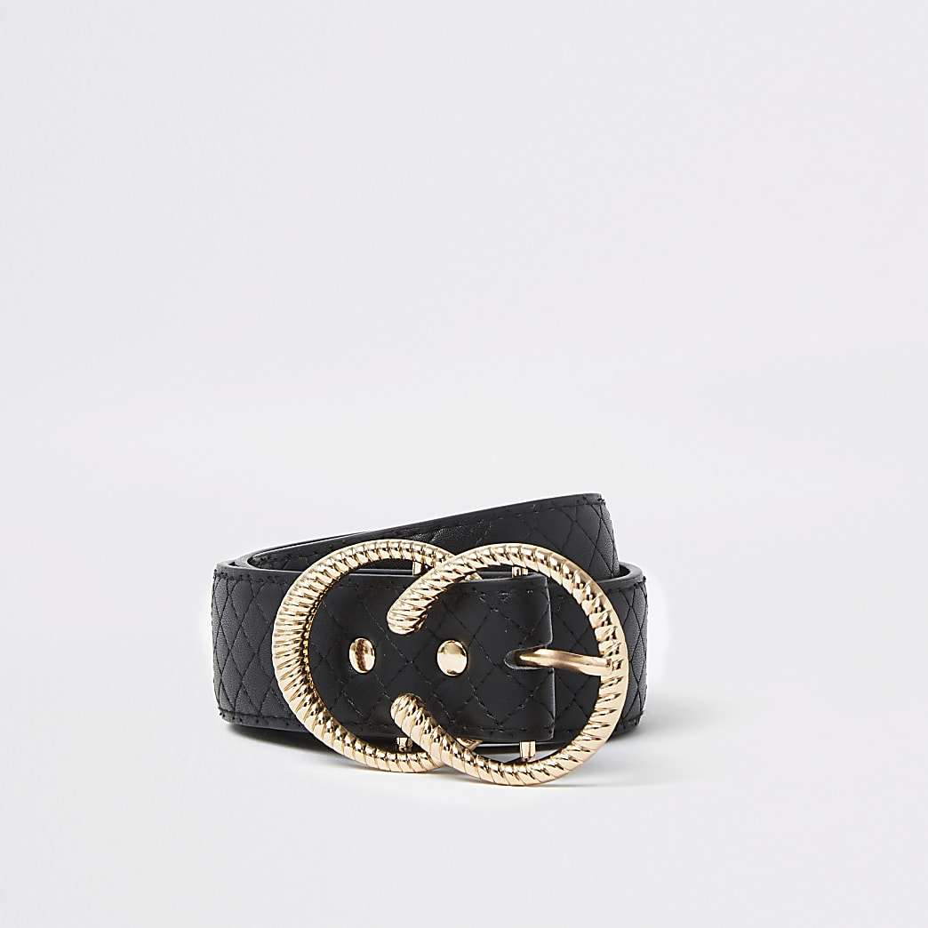 Black quilted strap double ring belt