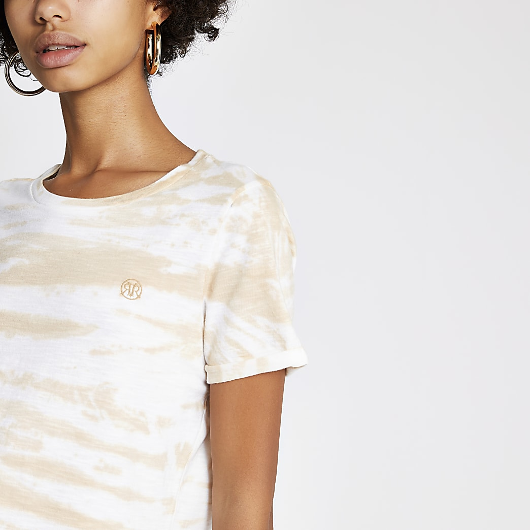 RI – T-shirt beige tie-dye à manches retroussées
