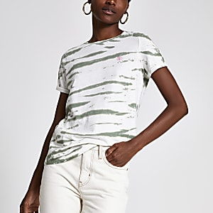 Green tie dye print turn up sleeve T-shirt