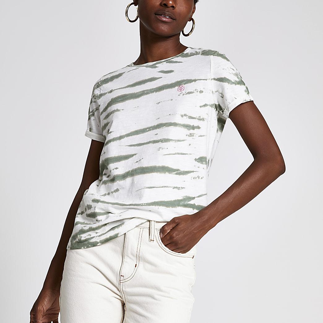 Groen tie-dye T-shirt met print en omgeslagen mouwen