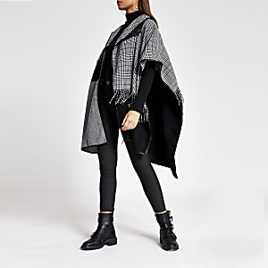 Zwarte geruite cape met pied-de-poule-motief en patchwork