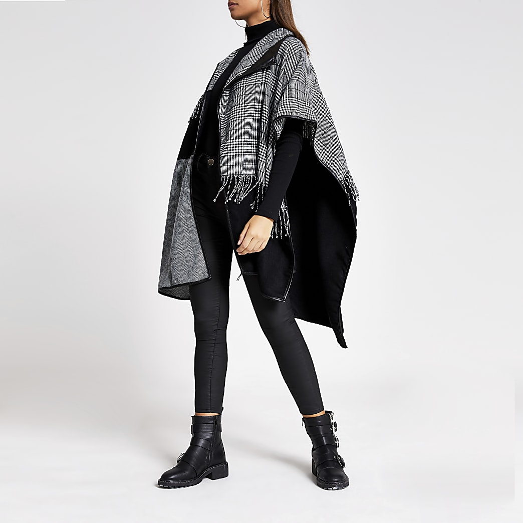 Black houndstooth check patchwork cape