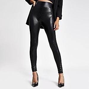 Black snake print coated leggings