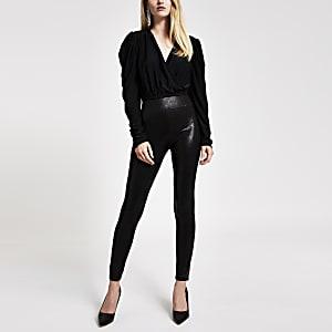 Black coated fitted leggings