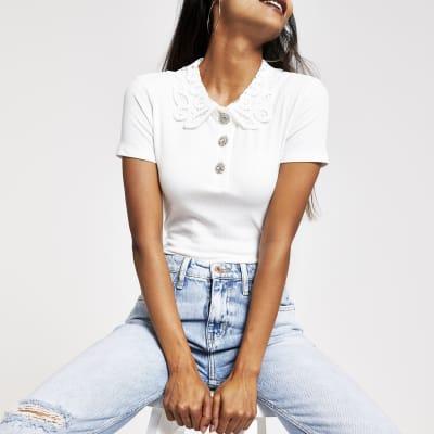 Lace T Petite White Collar Shirt wP0OknX8N