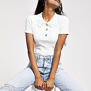 Petite – T-shirt blanc à col en dentelle