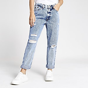Petite light blue acid wash ripped Mom jeans