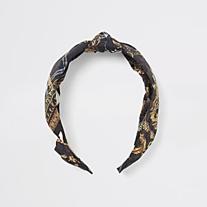 Brown scarf print knot headband