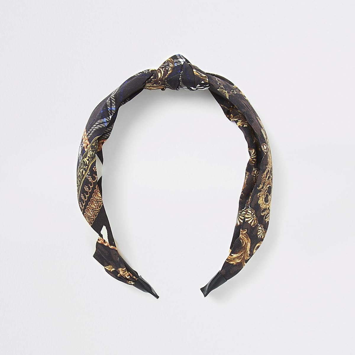 Brown scarf print knot headband