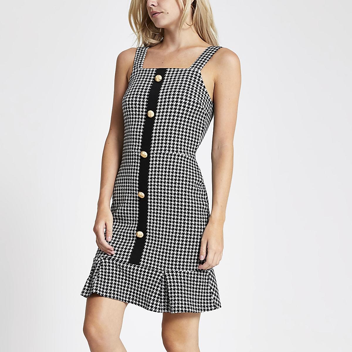 Petite black dogtooth check mini dress