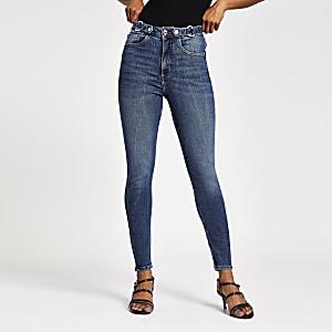 Petite – Hailey – Blaue Skinny Jeans mit hohem Bund