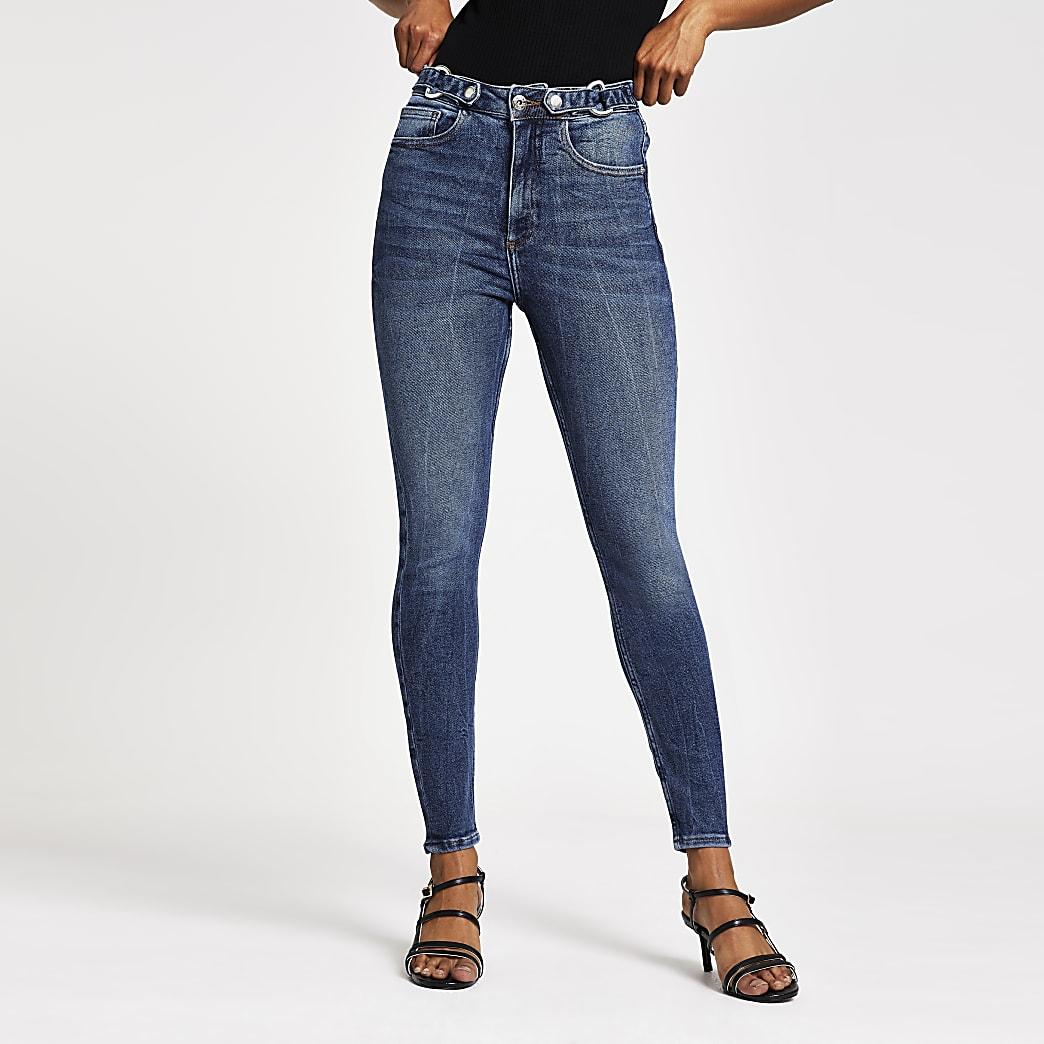 RI Petite - Hailey - Blauwe skinny jeans met hoge taille