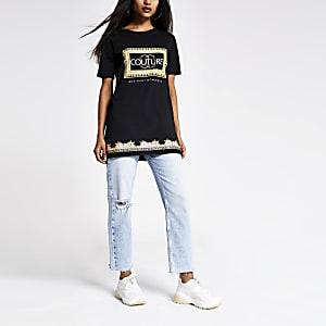 Petite – T-shirt oversize imprimé noir