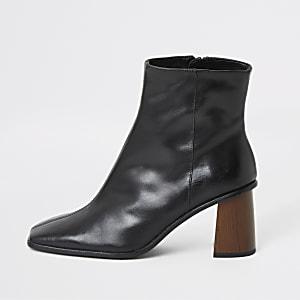 Black leather platform wood heel boots