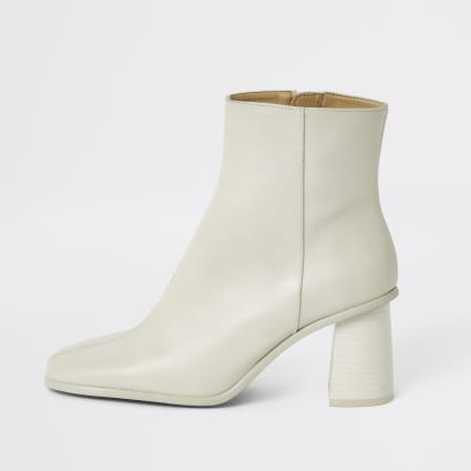 Dark white leather platform wood heel boots