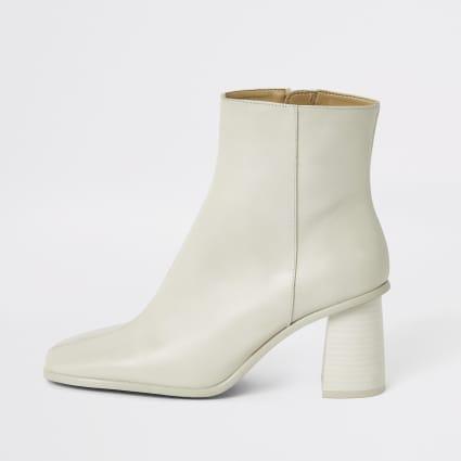 Dark white leather platform wood heel boots