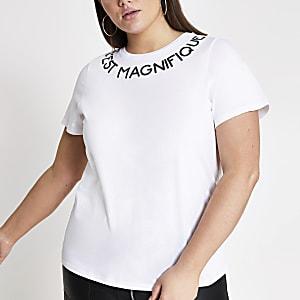 RI Plus - Wit T-shirt met print bij de hals