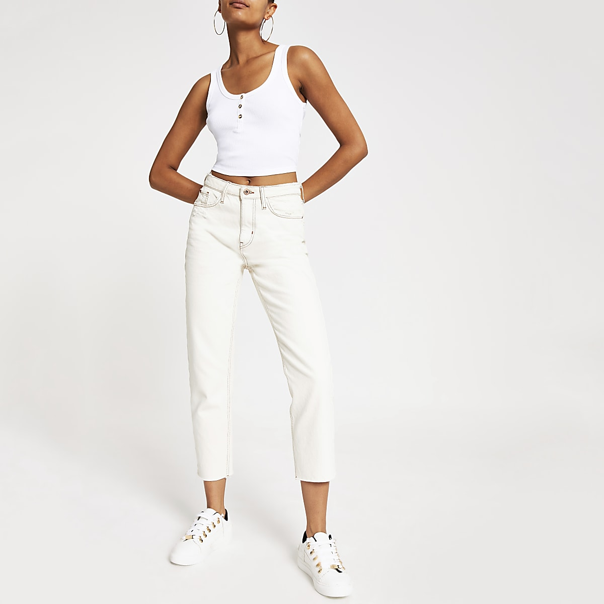 White button front crop cami vest