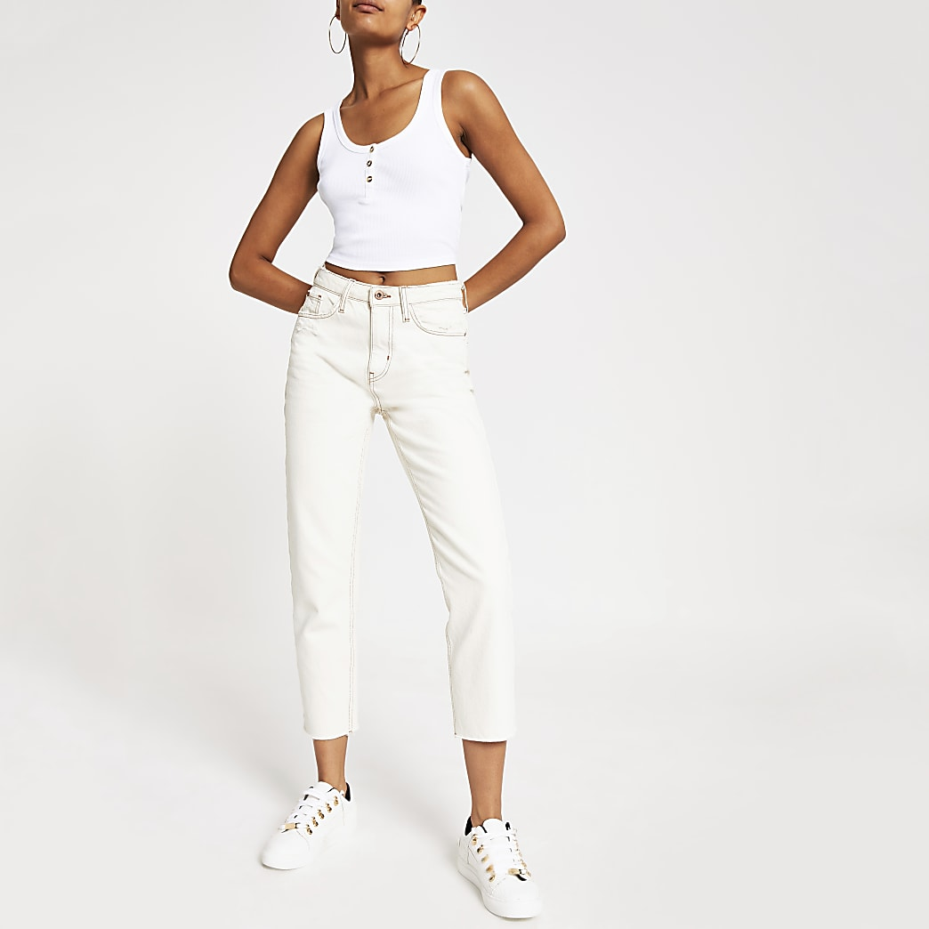 Wit cropped cami hemdje met knopen voor