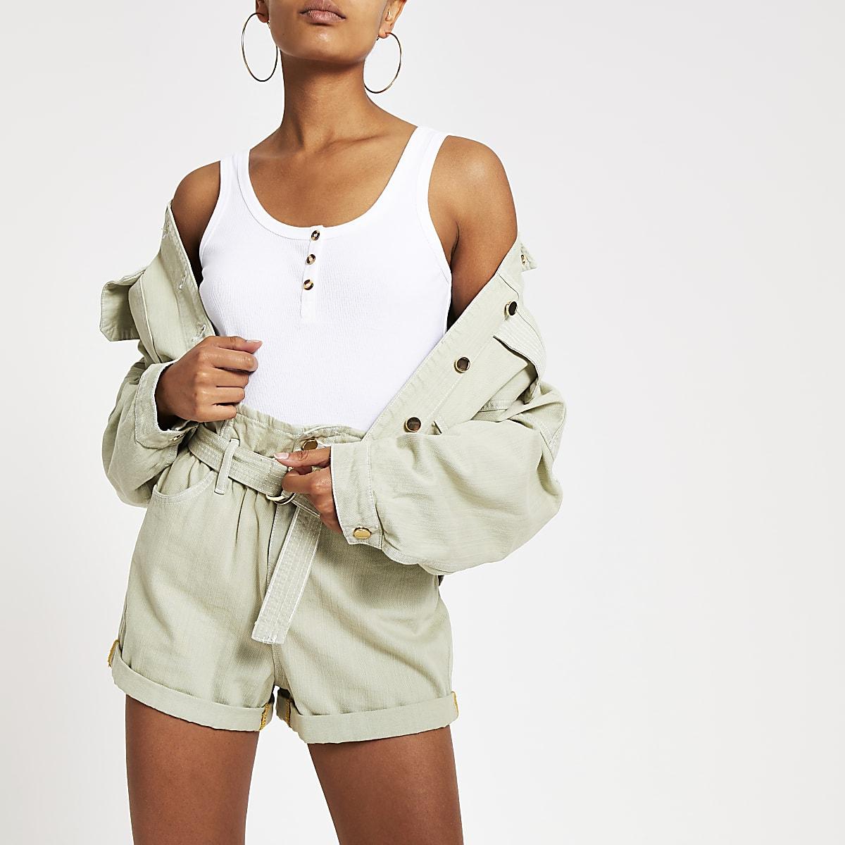 White button front cami vest