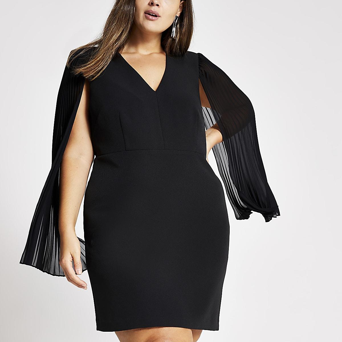 Plus black pleated sleeve mini dress