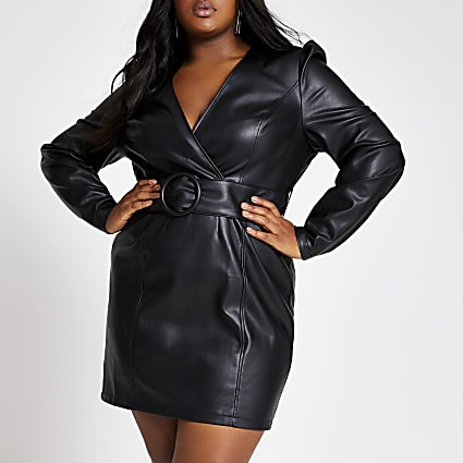 Plus black faux leather wrap mini dress