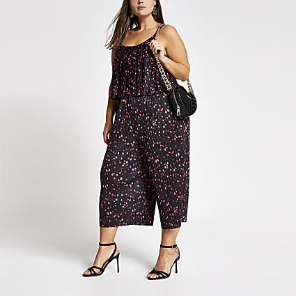 Plus black print plisse sleeveless jumpsuit