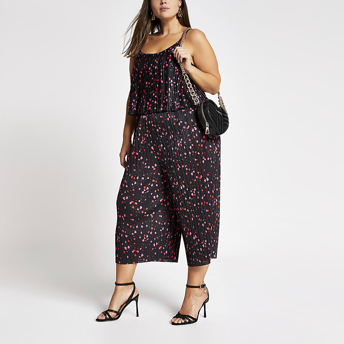 Plus black print plisse sleeveless jumpsuit