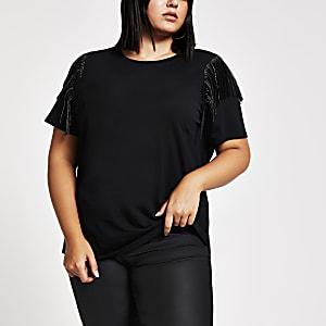 Plus – Schwarzes T-Shirt mit Fransen