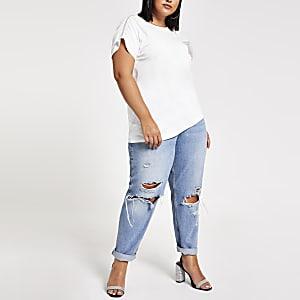 Plus – Weißes, verziertes T-Shirt