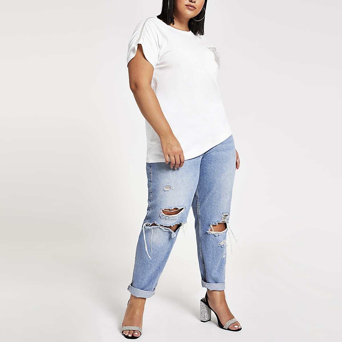 Plus white embellished T-shirt