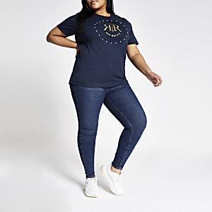 Plus – T-shirt bleu marine à strass avec logo RI