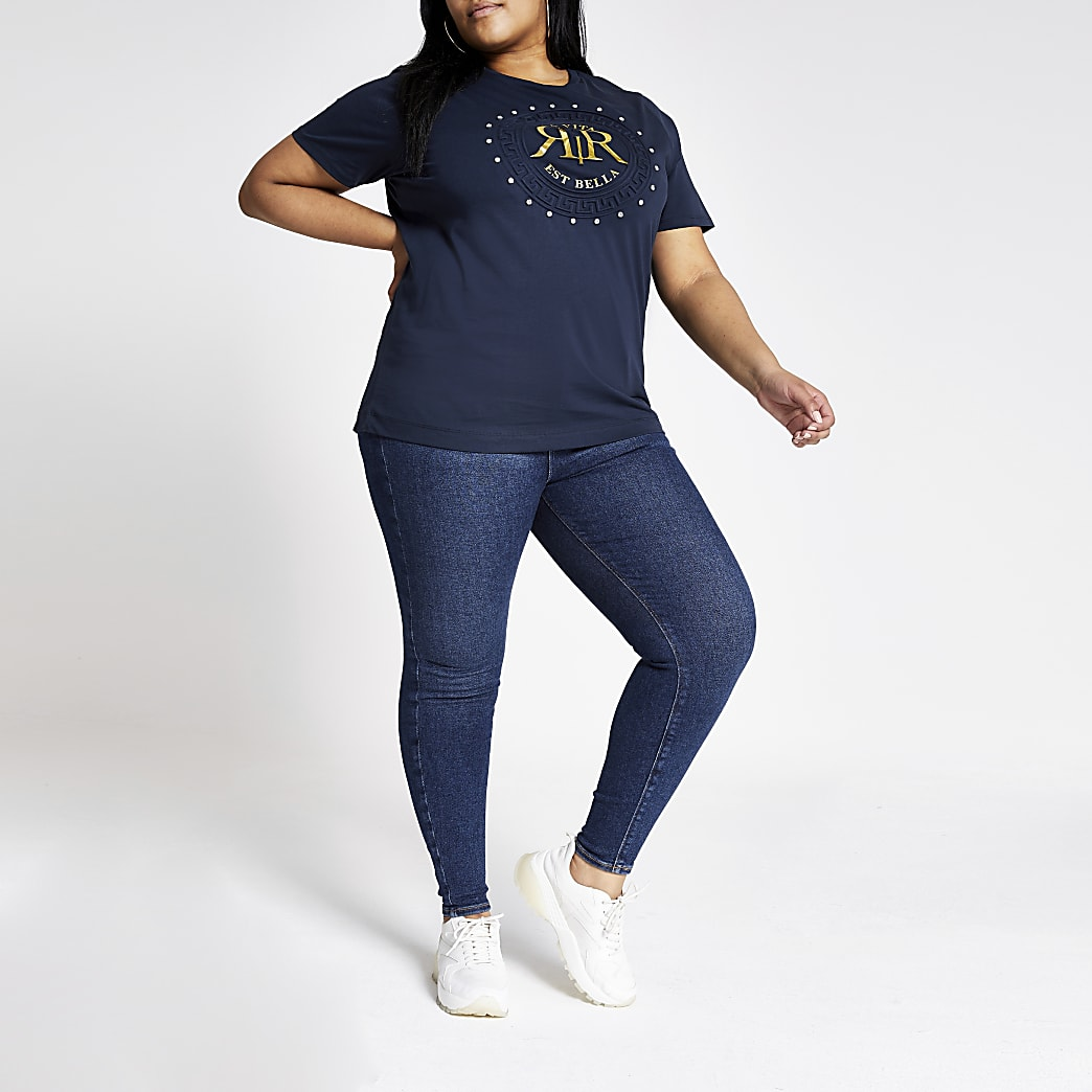 Plus navy RI diamante T-shirt
