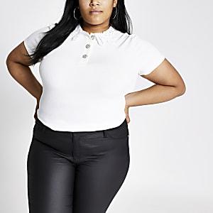 RI Plus - Wit T-shirt met kanten kraag