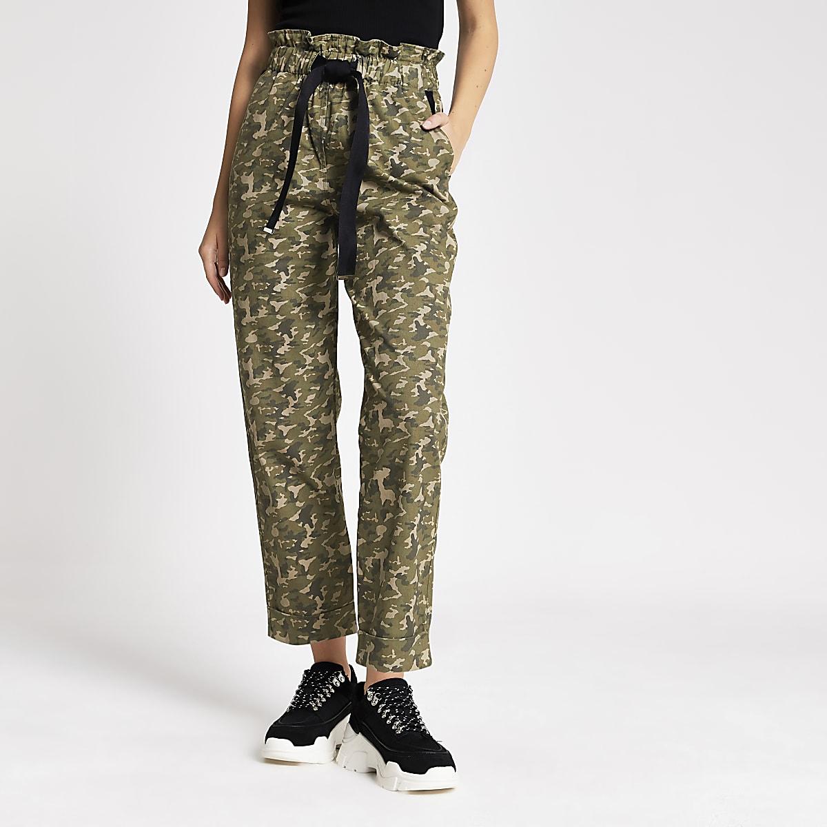Pantalon camouflage kaki fonctionnel à taille haute ceinturée