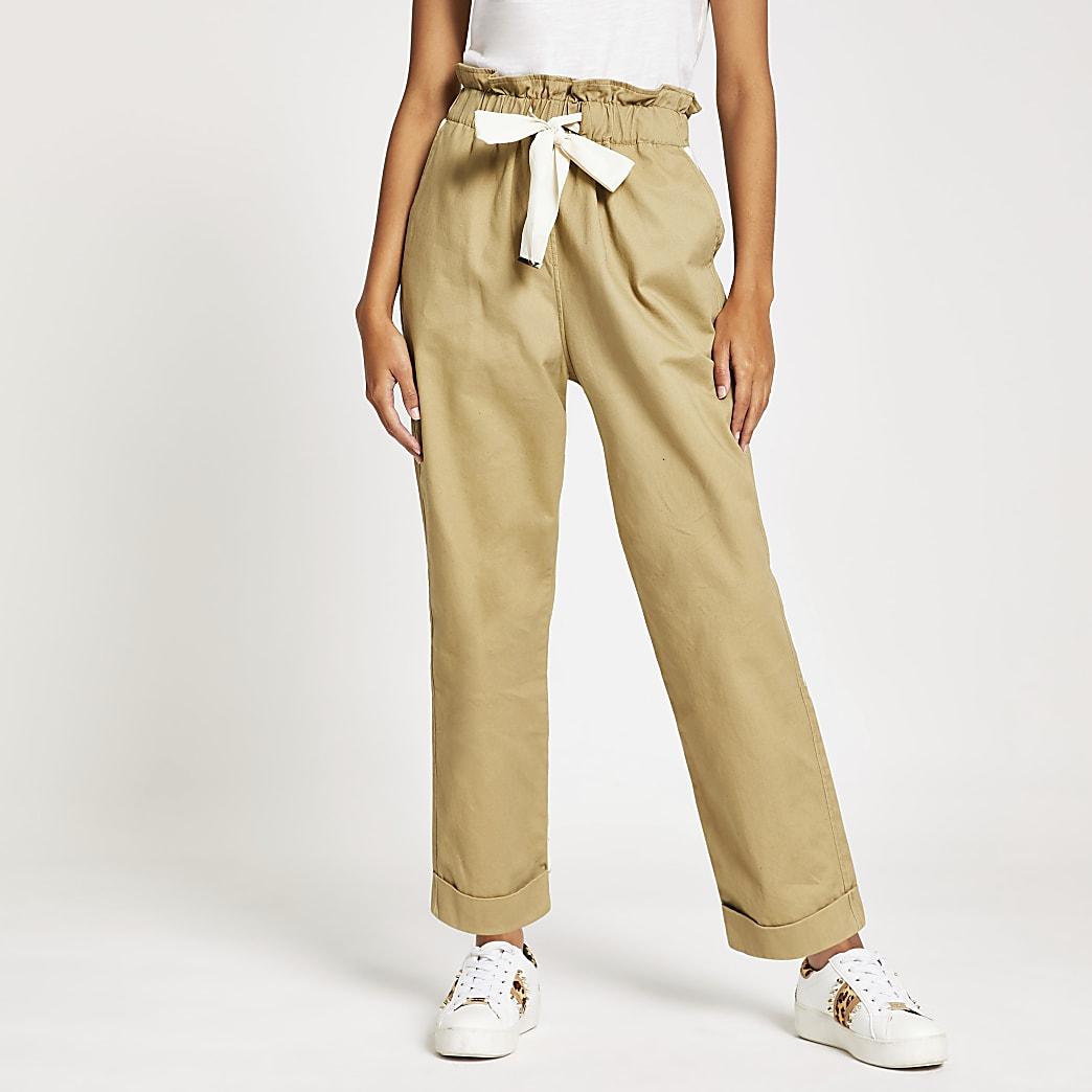 Beige utility broek met strik rond de taille