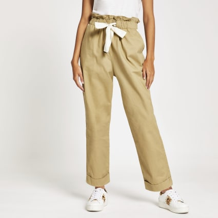 Beige tie waisted utility trousers