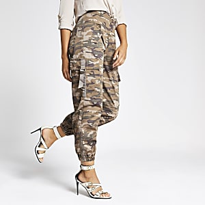 Beige camo utility trousers