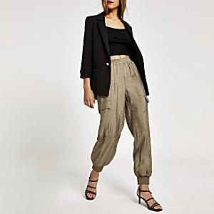 Pantalon ample style militaire beige