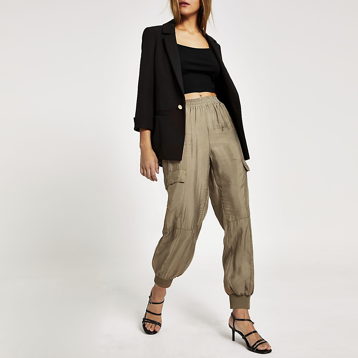 Beige loose utility combat trousers