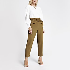 Petite light brown belted trousers