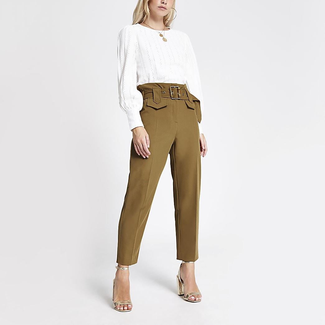RI Petite - Lichtbruine broek met riem